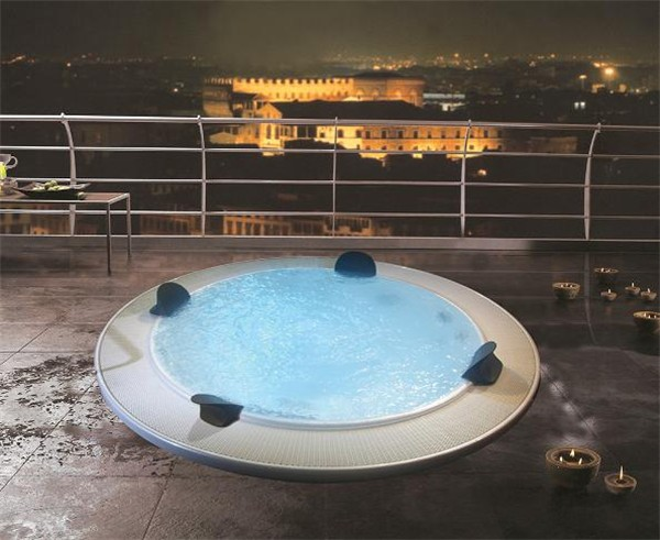 China manufacturer 2.2 Meters Cheap Hot Whirlpool Round Bathtubs for 6 People with Balboa Control System M-3329