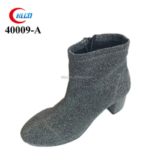 wholesale fashion grey casual boots with low heel for ladies