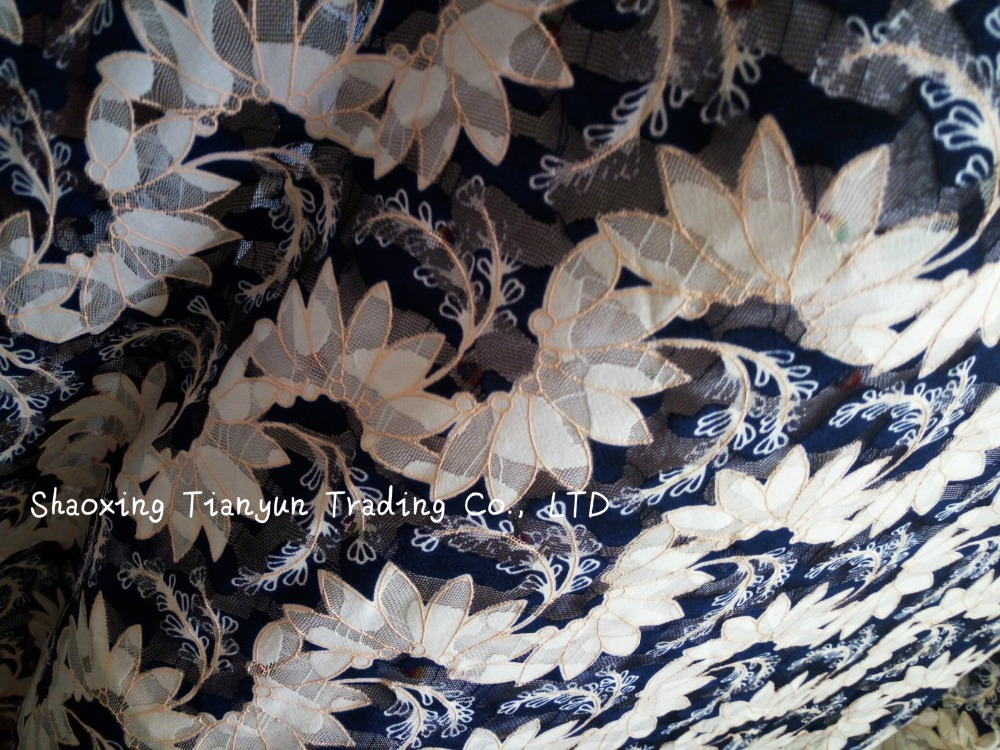 French net jacquard embroidery lace digital printed fabric