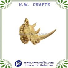 Polyresin gold decorative wall mounted 3D animal Rhinoceros head
