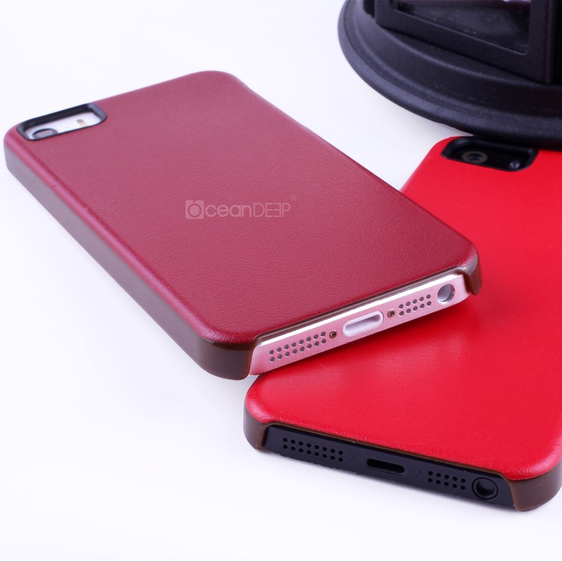 Protective new arrival pu leather covered imd hard cover for iphone 5s 64gb trensy new 2014 case