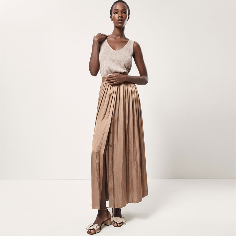 Latest style ladies pleated long skirt