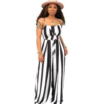 9279 women Striped strapless jumpsuit straitjacket loose jumpsuit wide leg jumpsuit