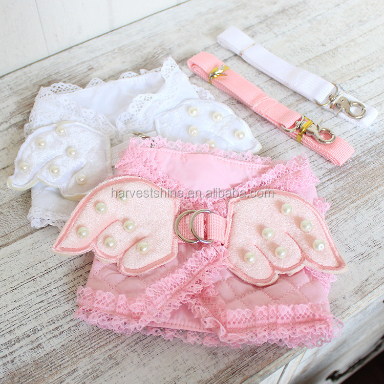 Adorable Pet Cat Dog Harness And Leash Set,Dogs Chest Strap With Lace Artificial Pearl Angel Wing