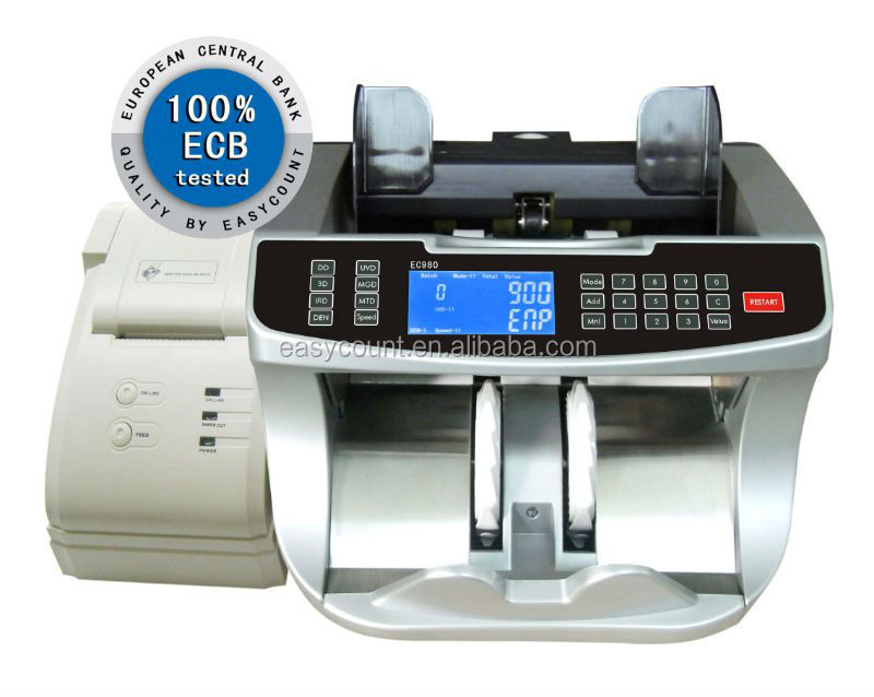 EC990 Bank professional two pocket bill banknote sorter money counter and cash sorter machine