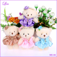 Free Shipping by DHL/FEDEX/SF pp cotton kid toys <strong>plush</strong> doll mini small teddy bear flower bouquets bear for wedding