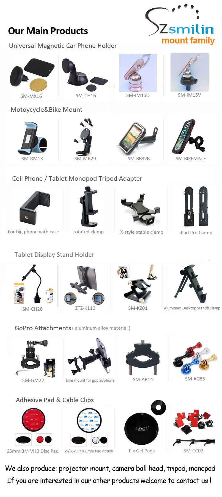 Manufacturer Private Mini Slim Expandable Smartphone Clamp Tripod Holder for Mobile Phone or Tablet pc or Projector