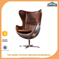 Fashionable genuine leather egg chair with aluminium back coating swivel bar chair