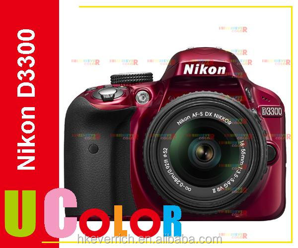 Genuine Nikon D3300 DSLR 24.2 MP HD 1080p Digital SLR Camera Body + 18-55mm Lens - RED