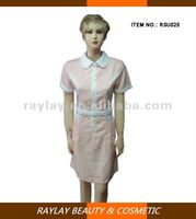 Elegant pink tunic lady coverall salon uniform workwear dress