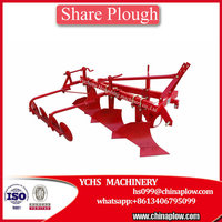 Farm machine three share plow tractor mounted moldboard plow