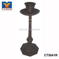 HOME ANTIQUE CAST IRON PILLAR CANDLE HOLDER