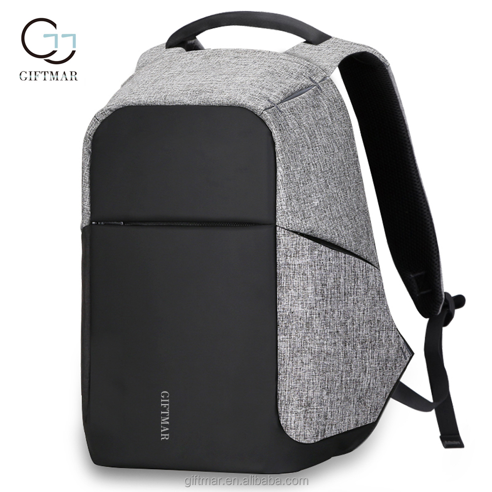 Stylish waterproof hidden compartment backpack mens back pack polyester school bags for college students