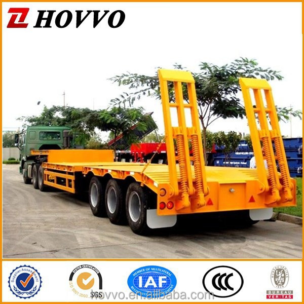 High quality tri-axle low bed truck trailer 80tons lowboy for sale