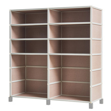 Minimalism Style Faddish MDF Plastic DIY Shoe Rack Cabinet 2 Rows 4 Layers with Boot Layer in Light Flax Fabric Color