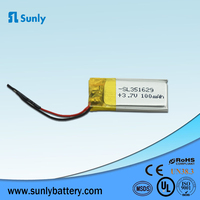 Small thin lipo battery 3.7V 351629 100mAh lithium polymer battery for smart watch