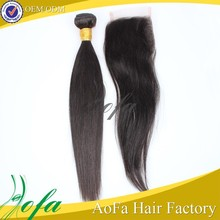 Unprocessed raw tangle free straight hair weft in china peruvian hair with closure