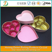 The heart shape pink chocolate box chocolate truffle boxes chocolate box with six compartments