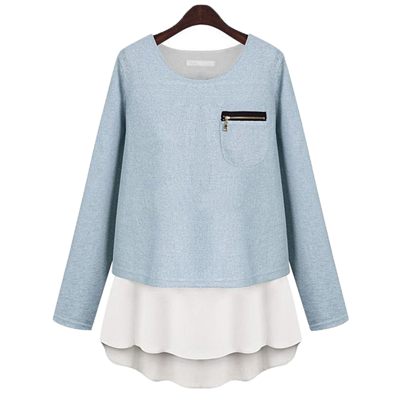 Women Sweaters 2015 Spring Autumn Winter pullovers Long sleeve Pure Color Chiffon Splice Knit Thick Casual Lady Warm clothing K8