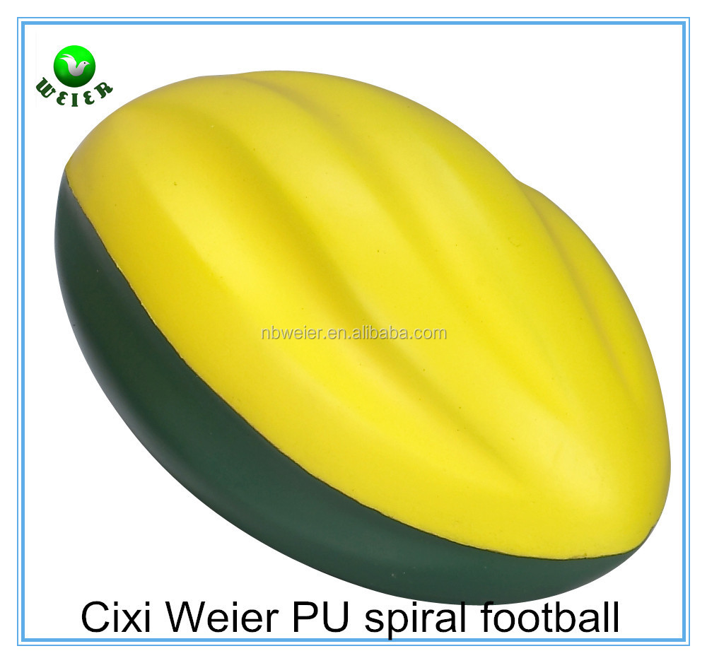 7.6X12.7cm hot selling promotional gift PU spiral football/PU material anti stress spiral football/kids toy PU spiral football