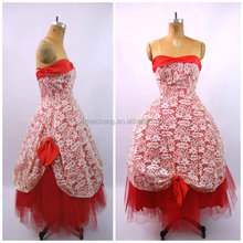 Red lace flower crocheted princess goddess dress for evening party wedding prom
