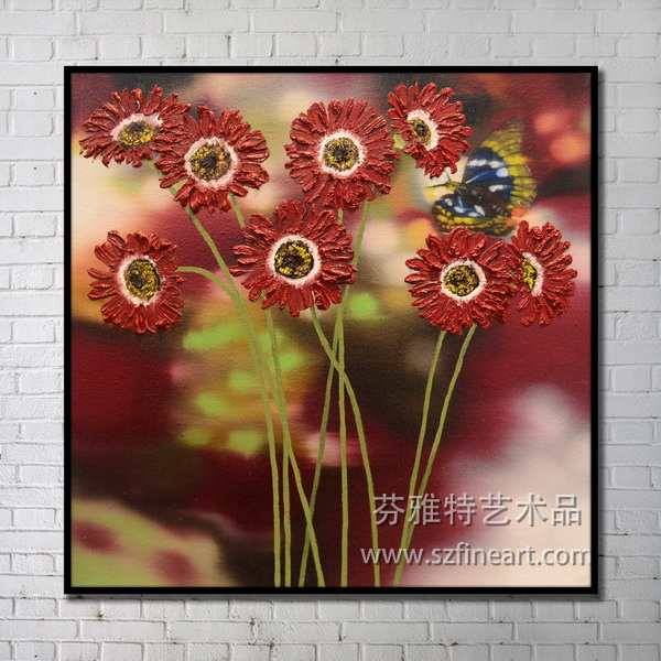 Beautiful modern design handmade abstract canvas painting patterns of flower