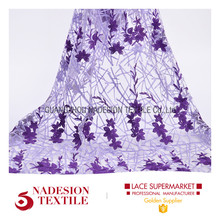 Wholesale custom design african embroidered tulle lace fabric