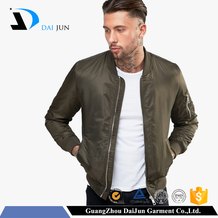 Daijun oem factory hot style green cotton filling autumn plain custom men wholesale nylon bomber jackets