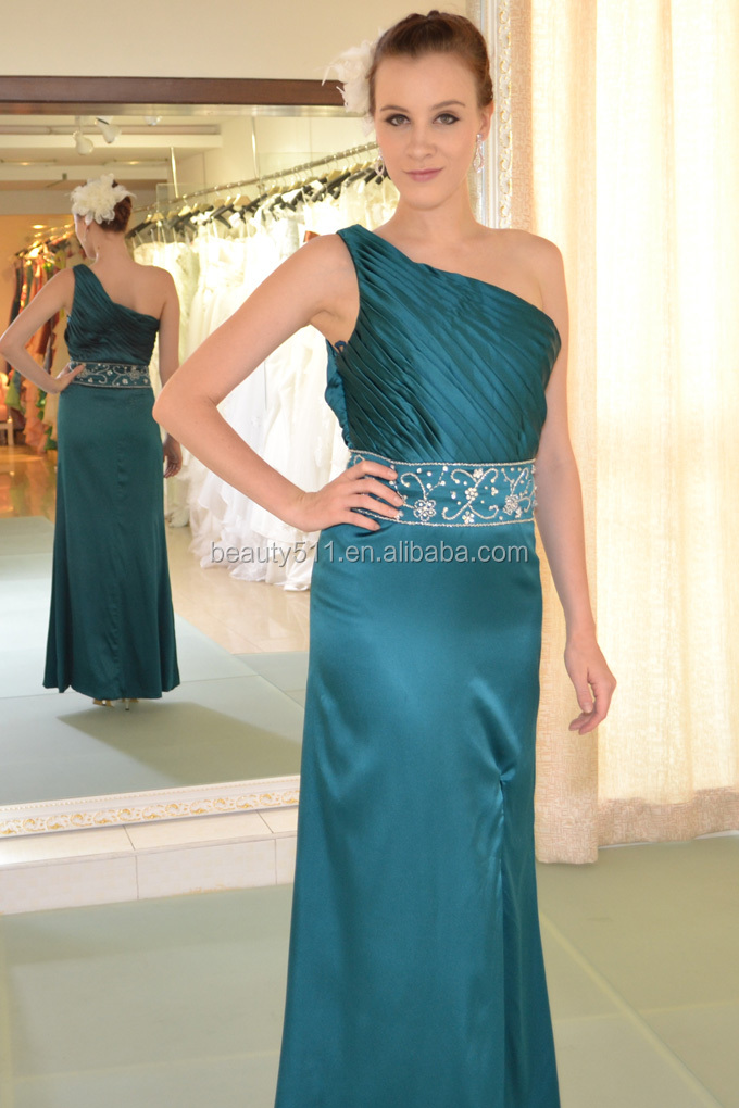 A-line sheat one shoulder Strapless Sweep Brush Train Chiffon party dress with Draping Cross prom dress AS221
