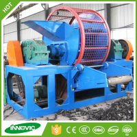 Waste recycling machine for recycled rubber tire mulch whole tire shredder machine /