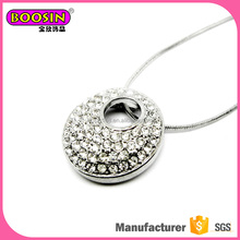 fashion design wholesale circle pendant silver necklace