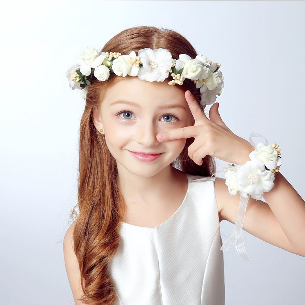 Summer 2Pcs/Set Wedding Bride Party Girl Lace Flowers Floral Crown Garland Headband & Hand Flower Wreath Sets For Women Lady