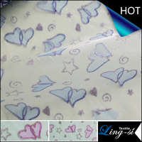 Polyester Organza Printed Heart Design Fabric for Dress DSN266