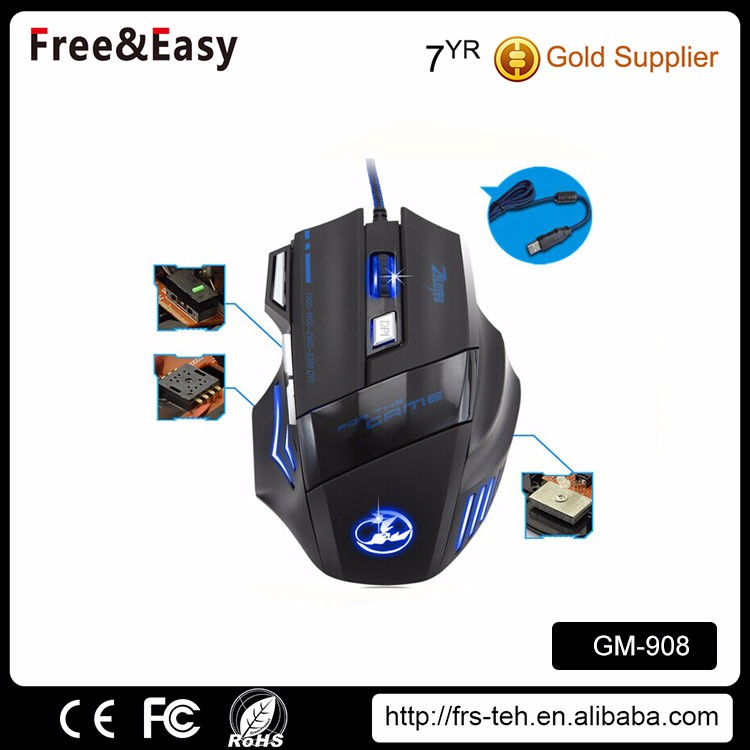 Cheap noise less 7d wired led gaming mouse