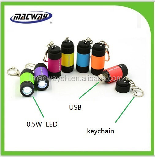 USB rechargeable aluminum ring led mini torch light with keychain