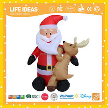6' christmas inflatable lighted santa claus with elk yard art decoration