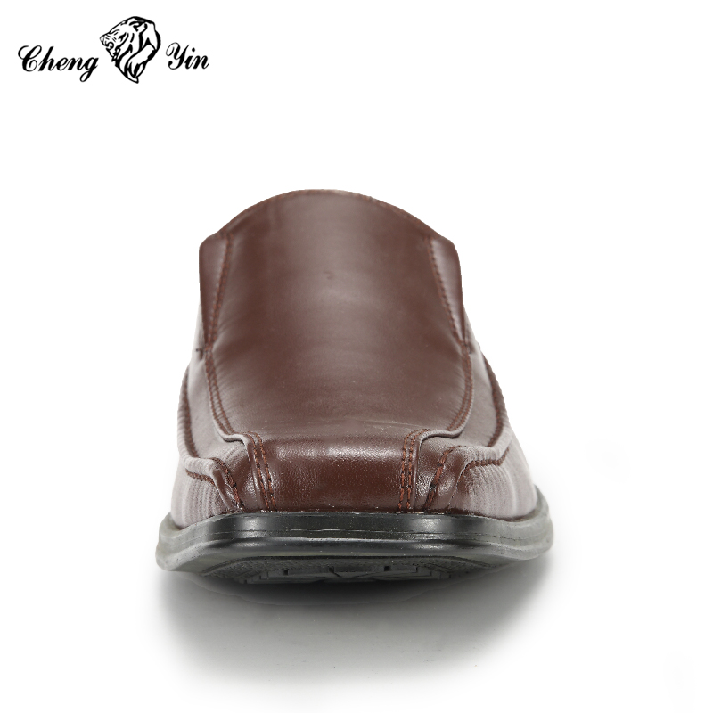 Dark brown shoes import from China formal men PU leather shoes