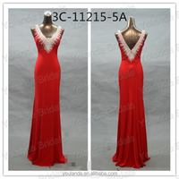 2015 High Quality Double Vneck Red Elegant Real Samples Top Evening Dress
