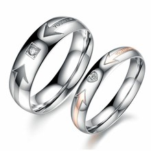 Marlary Ally Express Cheap Wholesale Ring Wedding Gift Couple Stainless Steel Arrow Simple Engagement Ring