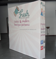 8ft 340g high tension fabric pop up stand display with velcra system end cap printing by sublimations with carrying bag free cha