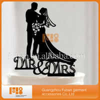 high quality bride and groom black acrylic cake topper for acrylic decoration
