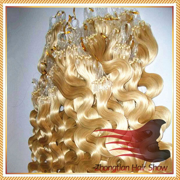 High Quality Easy Loop blond JERRY CURL Micro Ring Hair Extensions