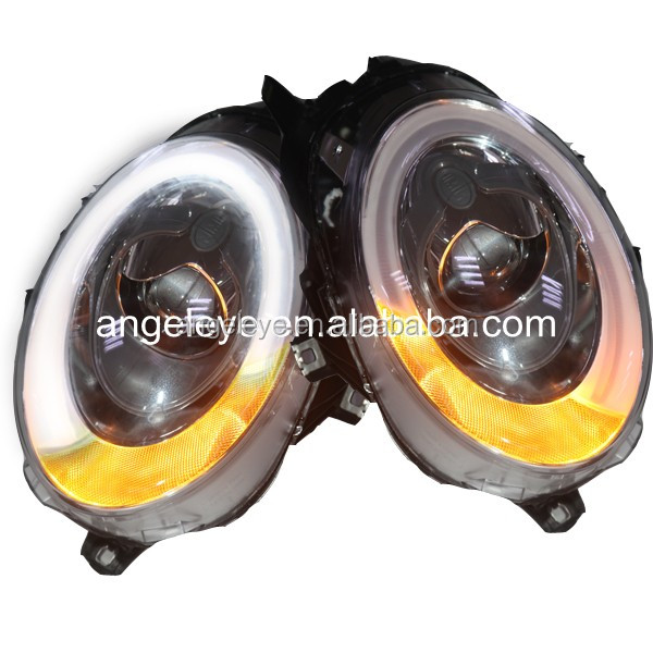For BMW Mini Cooper Clubman R55 R56 R57 LED Head Lamp Angel Eyes 2014 year for original car with Halogen bulbs