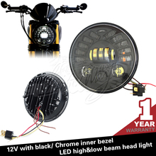 Black and chrome 7 inch motorcycle Adaptive LED Headlights for harley davidson