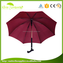 2016 new design Strong Quality Black Walking Stick Cane Rain Umbrella,Canes Crutch Umbrella Products for Old People