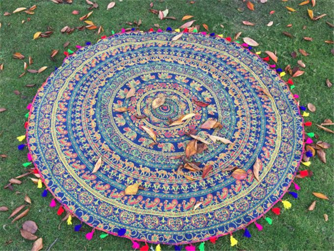 alson drop shipping Indian Mandala Round Roundie Beach Throw Tapestry Hippy Boho Gypsy Cotton Tablecloth Beach Towel