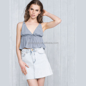 Latest V-neck lady plain pattern tops, soft cotton sexy strap women clothes from Guangzhou clothing supplier