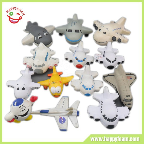 2015 popular PU foam customized anti kinds of airplane shape stress ball