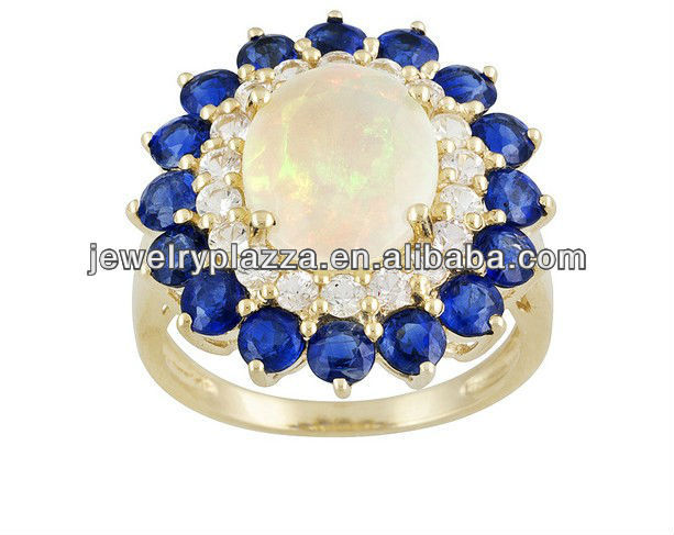 Sapphire 10k Yellow Gold Ring,925 Silver Ring,Silver Jewelry