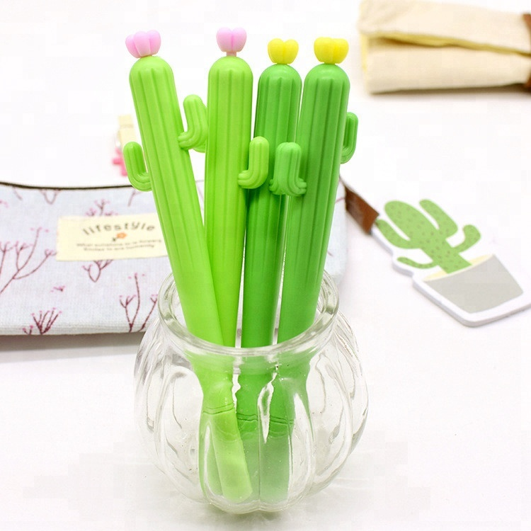 Wholesale Promotional 0.5mm Silicone Cactus Shape Gel Ball <strong>Pen</strong> With Custom LOGO